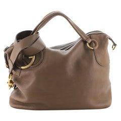 Gucci Twill Satchel Leather