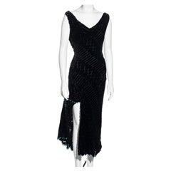 Atelier Versace black silk velvet devoré cowl neck evening dress, fw 1999