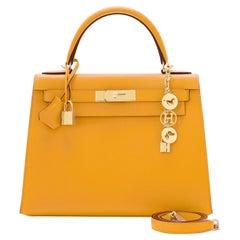 Hermes Kelly 28cm Jaune Ambre Epsom Gold Sellier Shoulder Bag Y Stamp, 2020