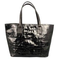 REYNA ICAZA Montecito Black Leather Alligator Tote Handbag