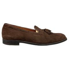 ALDEN 666 Size 15 Brown Suede Leather Slip On Tassel Loafers