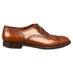 ALDEN 911 Size 15 Brown Cognac Perforated Leather Cap Toe Lace Up Shoes