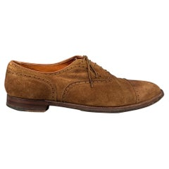 ALDEN 51670F Size 15 Brown Perforated Suede Cap Toe Lace Up Shoes