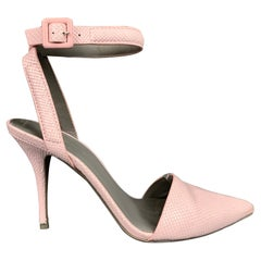 ALEXANDER WANG Size 8 Lilac Embossed Leather Ankle Strap Pumps