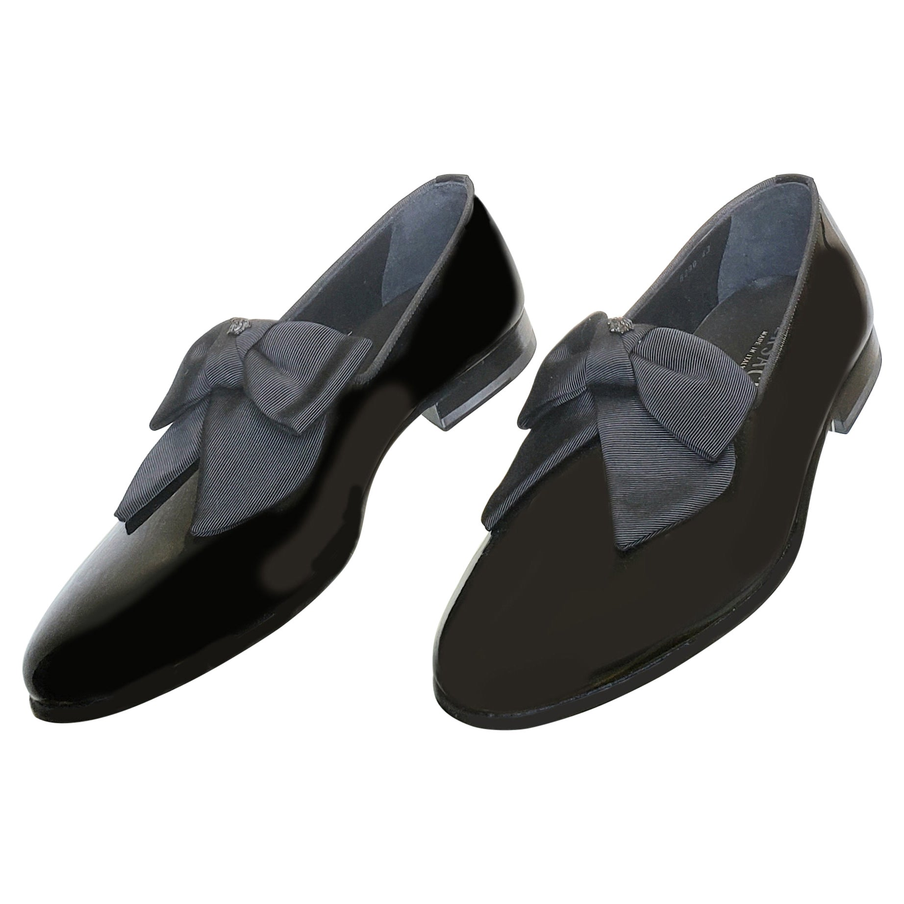 VERSACE BLACK PATENT LEATHER LOAFER Shoes 43 - 10
