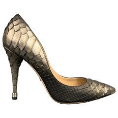 PAUL ANDREW Size 8 Silver & Grey Ombre Python Skin Pumps