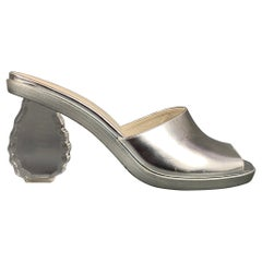 SIMONE ROCHA Size 8 Silver Leather Carved Heel Mule Sandals