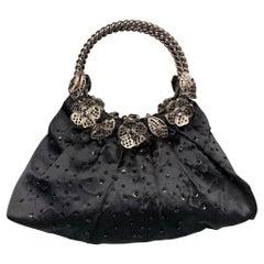 BADGLEY MISCHKA Black & Silver Beaded Satin Evening Handbag