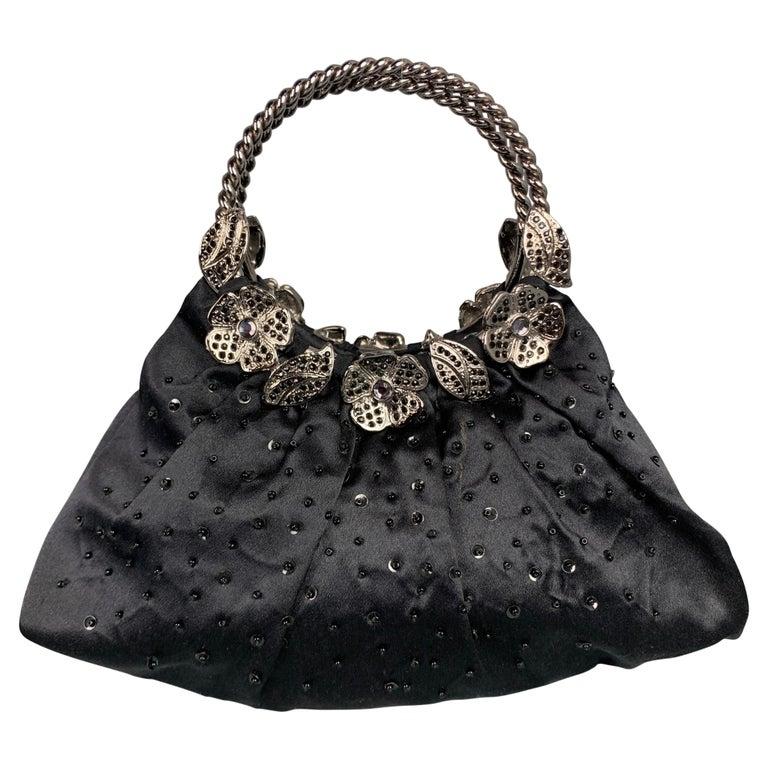 BADGLEY MISCHKA Black & Silver Beaded Satin Evening Handbag For Sale