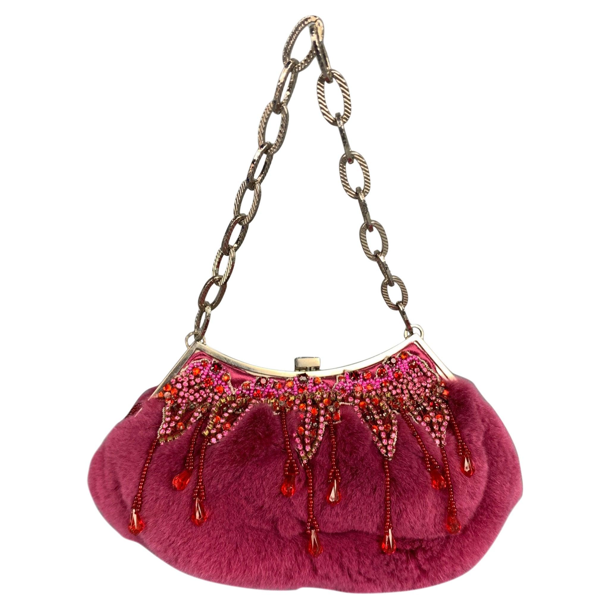 BADGLEY MISCHKA Purple & Silver Beaded Rhinestones Fur Handbag