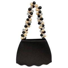 RENAUD PELLEGRINO Black Satin Beaded Evening Handbag