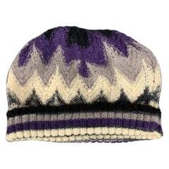 MISSONI SPORT Purple & Grey Knitted Wool / Cashmere Beanie