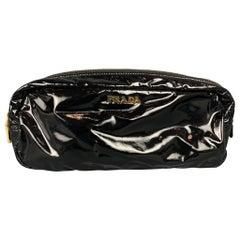 PRADA Black Faux Patent Leather Pouch