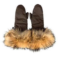 PRADA Brown & Beige Nylon Fox Fur Trim Gloves