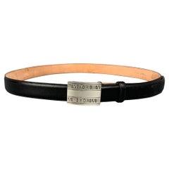 TIFFANY & CO. 2004 Atlas Size 38 Black & Brown Sterling Silver Calf Leather Belt