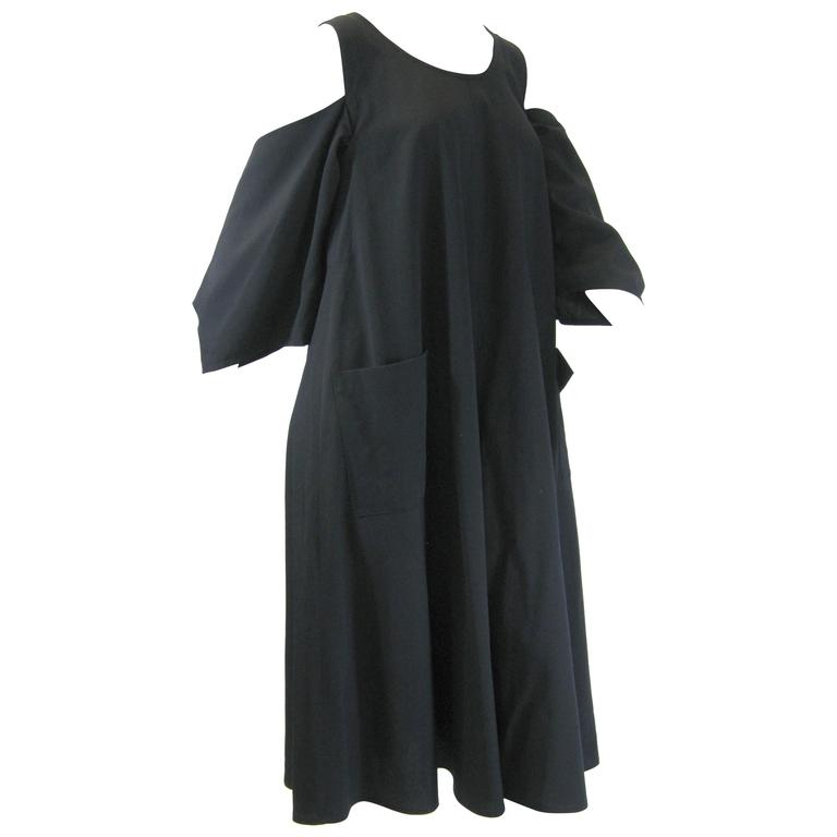 Yohji Yamamoto Navy Blue Shoulder Cut Out Dress