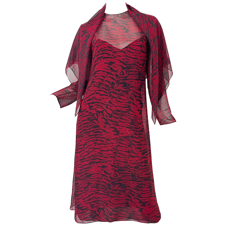 1970s Halston Red + Black Abstract Animal Print Three Piece 70s Dress Ensemble