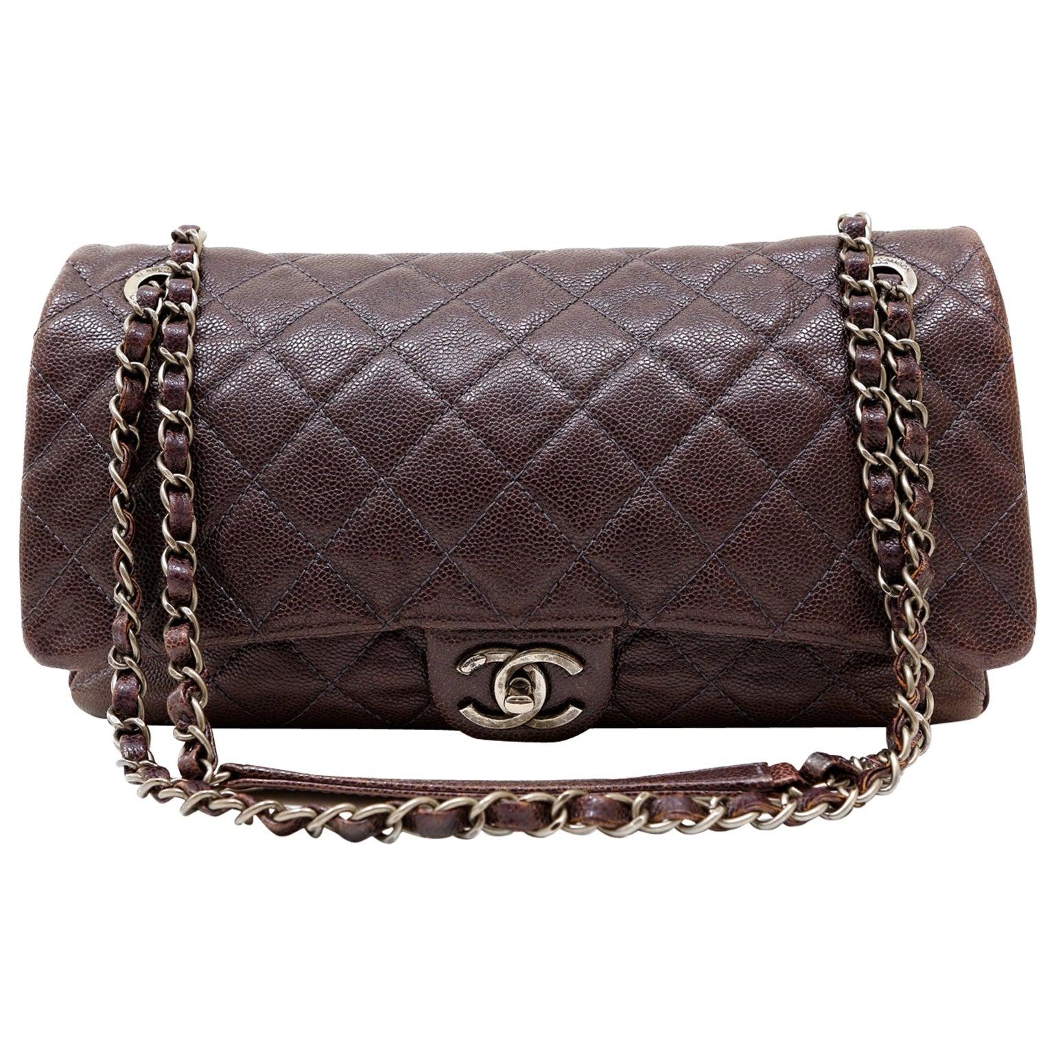 Chanel Purple Caviar Leather Easy Zip Flap Bag