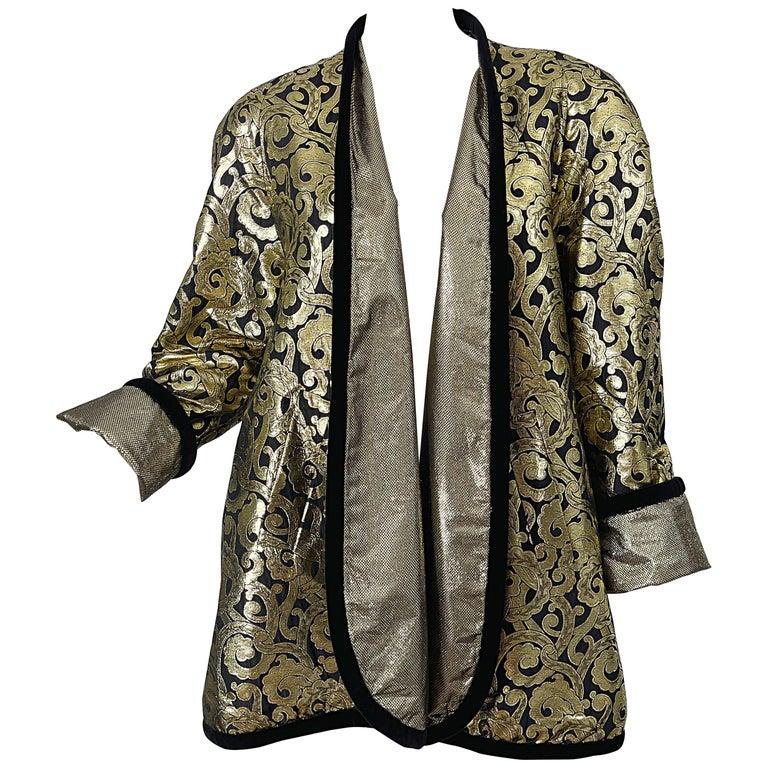 Vintage Escada Margaretha Ley 1980s Gold Black Silk 80s Swing Jacket Coat