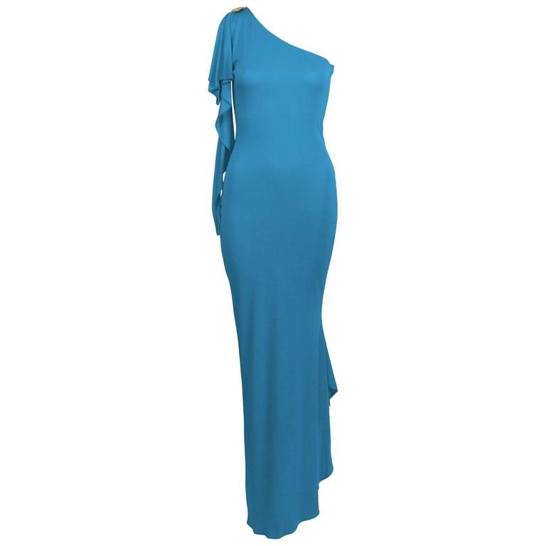 2000s Blue Marc Bouwer One Shoulder Gown