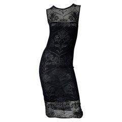Krizia 1990s Black Crochet Embroidered Semi Sheer Sleeveless Vintage 90s Dress