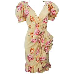 ANDREA ODICINI 1980s Yellow Silk Floral Print Dress with Large Bow Size 4-6