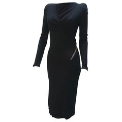 Tom Ford Black Long Sleeve Zip Mini Dress