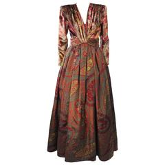 VALENTINO Gathered Metallic Velvet and Silk Gown Size 8