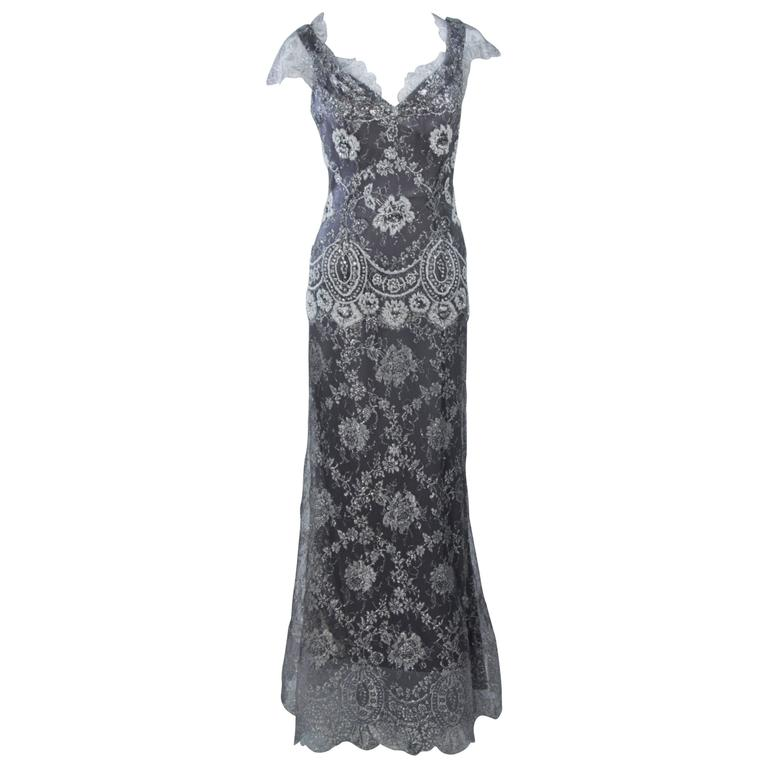 FE ZANDI Silver Lace Lame Gown with Scalloped Edges Size 8-10 For ...