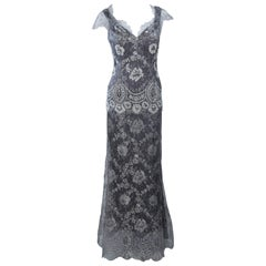FE ZANDI Silver Lace Lame Gown with Scalloped Edges Size 8-10