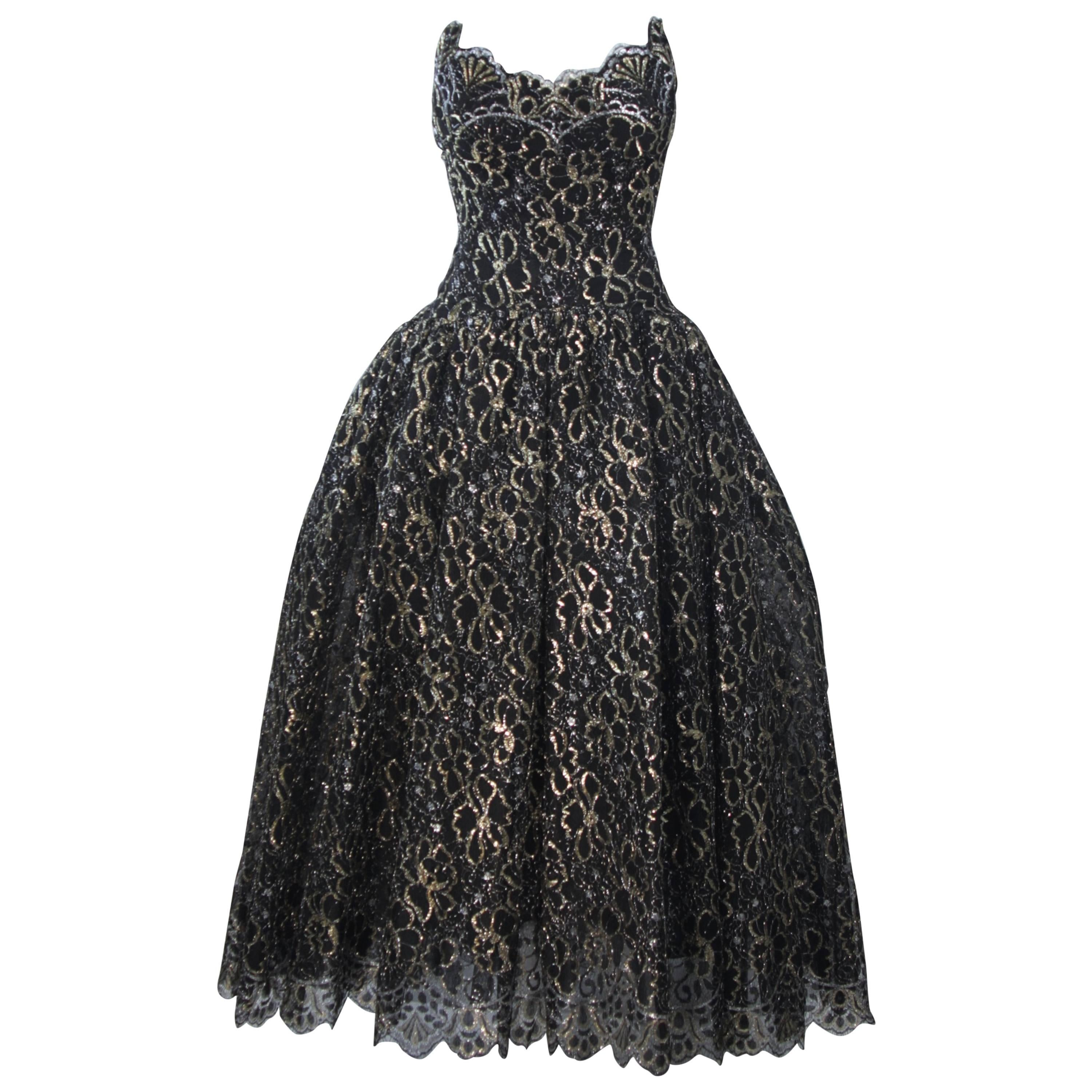 SCAASI Black and Gold Floral Metallic Lace Bustier Gown Size 4-6