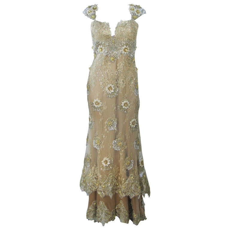 BARACCI Gold & Yellow Silk Lace Embellished Corset Gown Size 8-10 For Sale