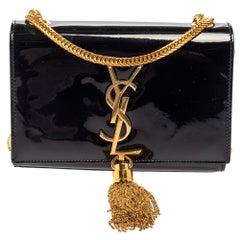 Saint Laurent Black Patent Leather Small Kate Tassel Crossbody Bag