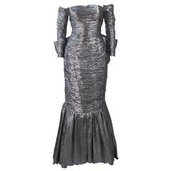 JIKI MONTE CARLO Brown and Silver Lame Gown with Giant Bow Size 38