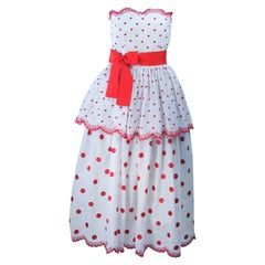 ALBERTO CAPRARO Tiered White & Red Embroidered Cocktail Dress with Ribbon Size 6