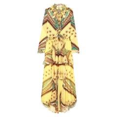 New Etro F/W 2018 Silk Ruffled Yellow Crepe De Chine Bohemian Maxi Dress It 42