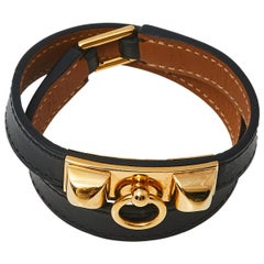Hermès Black Leather Rivale Double Tour Bracelet S