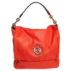 Loewe Orange Leather Maia Anagram Flap Top Handle Bag