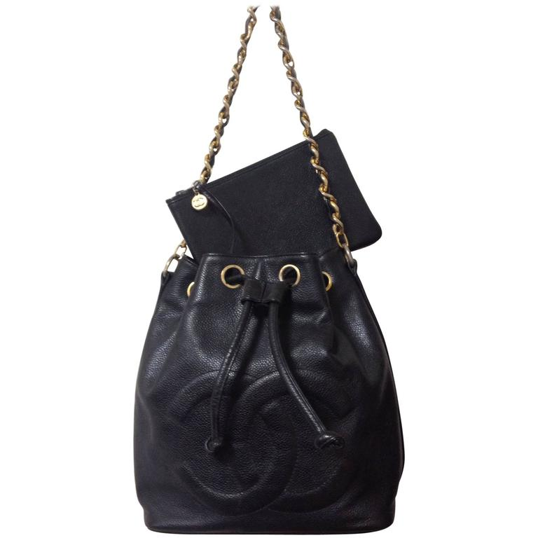 Vintage CHANEL black caviar leather hobo bucket shoulder bag with ...