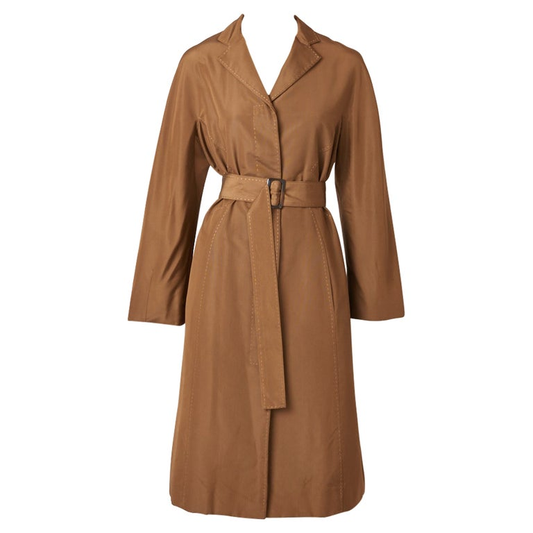 Chado Ralph Rucci Bronze Tone Belted Coat For Sale