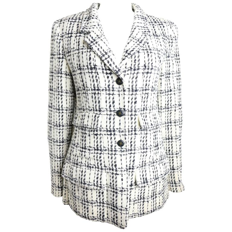 Chanel Black And White Plaid Tweed Jacket For Sale