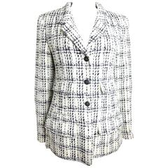 Chanel Black And White Plaid Tweed Jacket