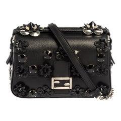 Fendi Blue/Black Flowerland Leather Double Micro Baguette Bag
