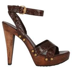 Gucci Women Sandals Brown Leather EU 38