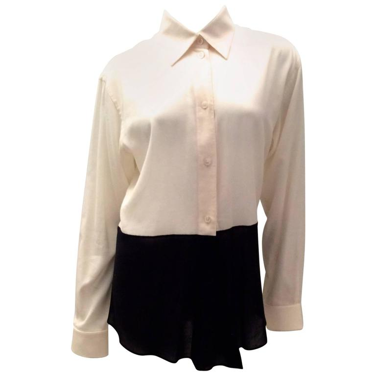 Hermes Silk Blouse - Cream and Navy Classic For Sale