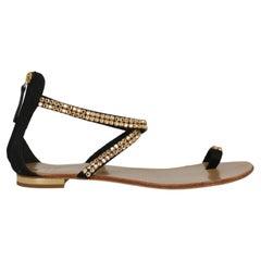 Giuseppe Zanotti Women Slippers Black Fabric EU 37.5