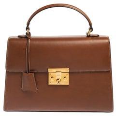 Gucci Brown Leather Medium Padlock Top Handle Bag