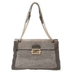 Fendi Metallic Leather Maxi Studded Baguette Flap Shoulder Bag
