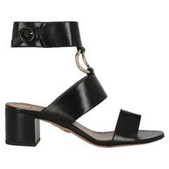 Aquazzura Women Sandals Black Leather EU 36.5