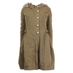 ERMANNO SCERVINO army green Parka Jacket Coat 38 XS
